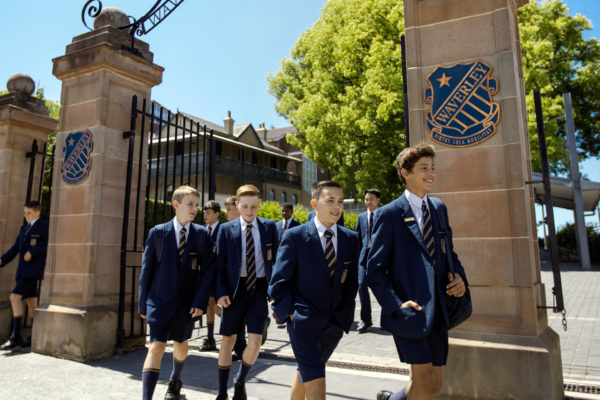Students walking out Carrington Road College gates